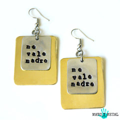 ME VALE MADRE::: {brass layered metal earrings}