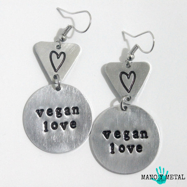 VEGAN LOVE::: {circle-triangle dangle earrings)