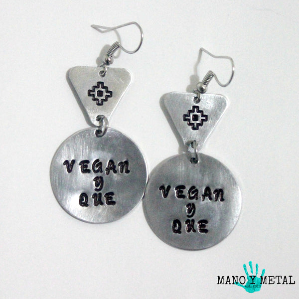 VEGAN Y QUE::: {circle-triangle dangle earrings)