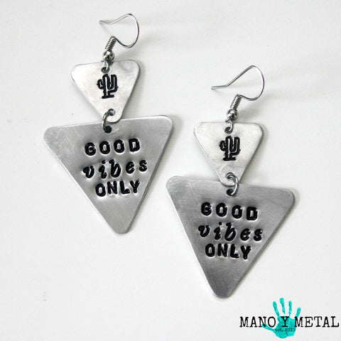 Good Vibes Only::: {triangle dangle earrings}