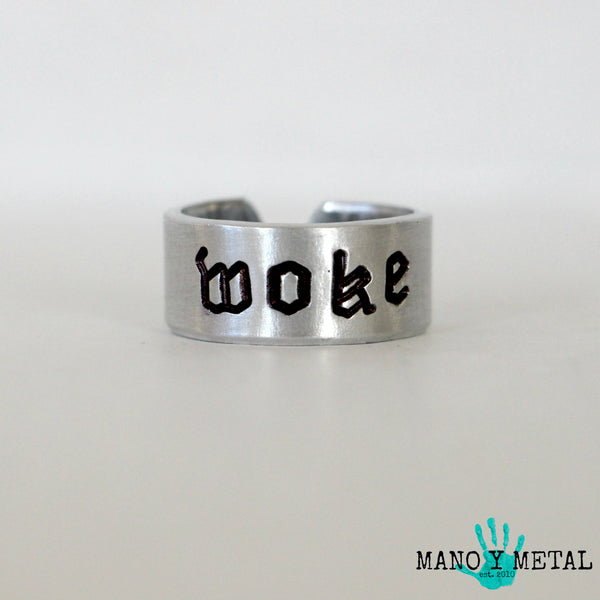 WOKE★::: {hand stamped adjustable ring}