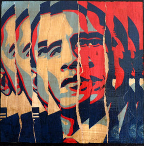 TAILLANDIER Alexandre: Obama collages sur toile (30x30 cm) -