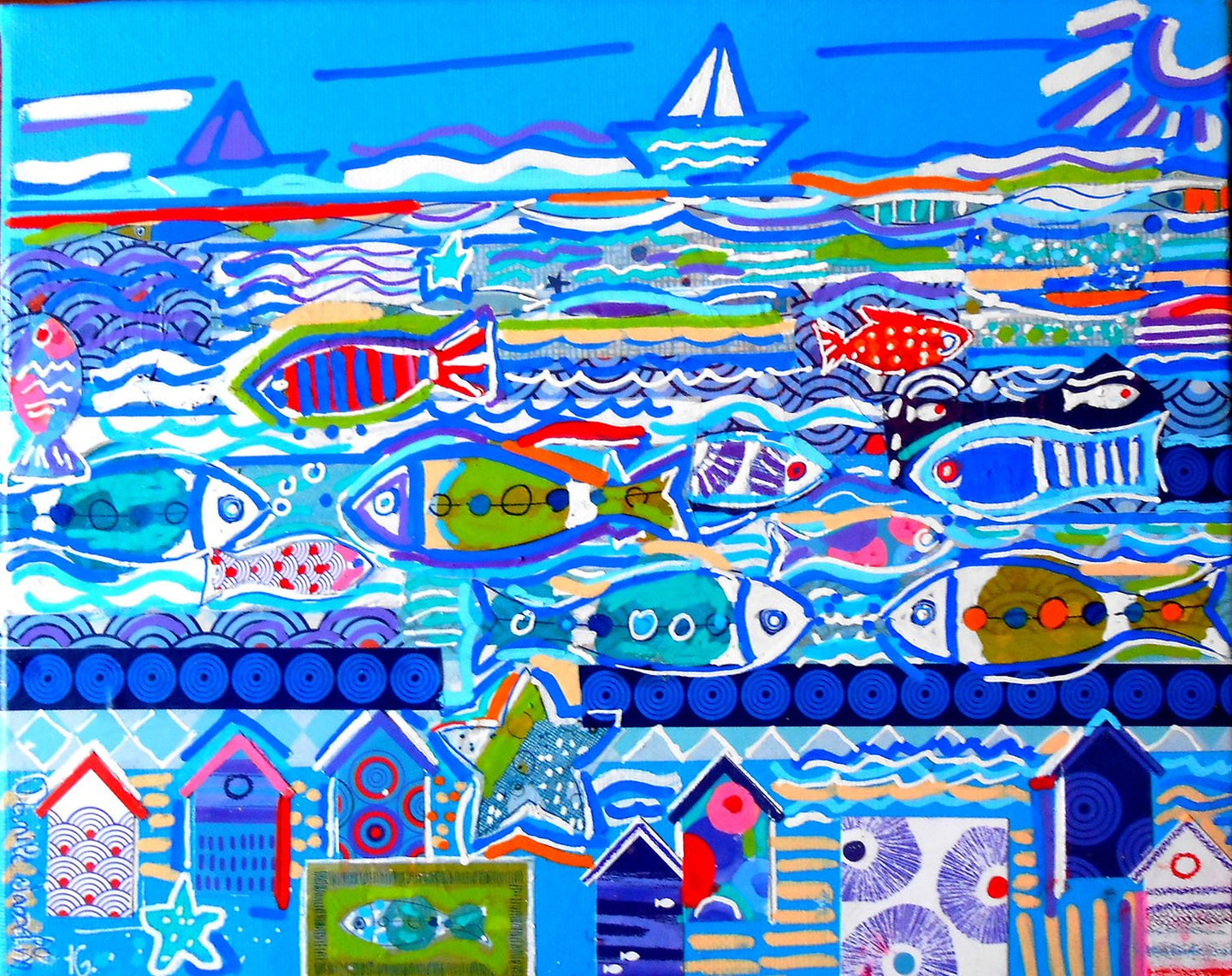 JASSELIN Danièle - On the sea (tableau Acrylique et collages