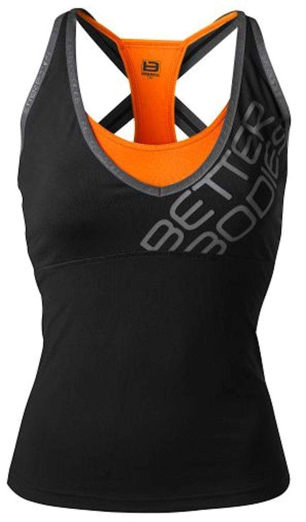 Better Bodies Women's Clothing Large Better Bodies Support 2-Layer Top Black/Orange (Code: 20off)