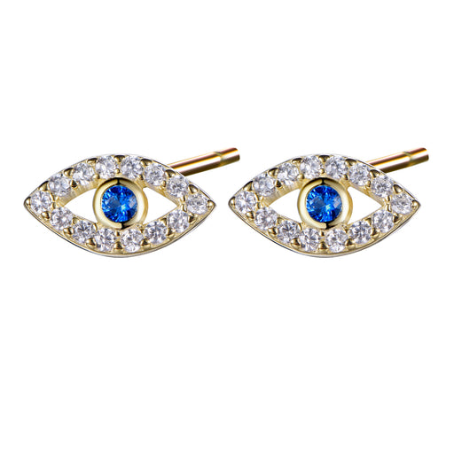 Evil Eye Stud Earrings in Cubic Zirconia and 14k Yellow Gold over 925 Sterling-Earring-Vida's Brooklyn