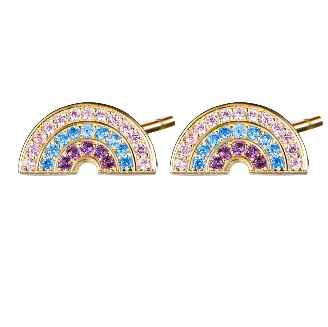 Pastel Rainbow Stud Earrings in 14k Yellow Gold over 925 Sterling-Earring-Vida's Brooklyn