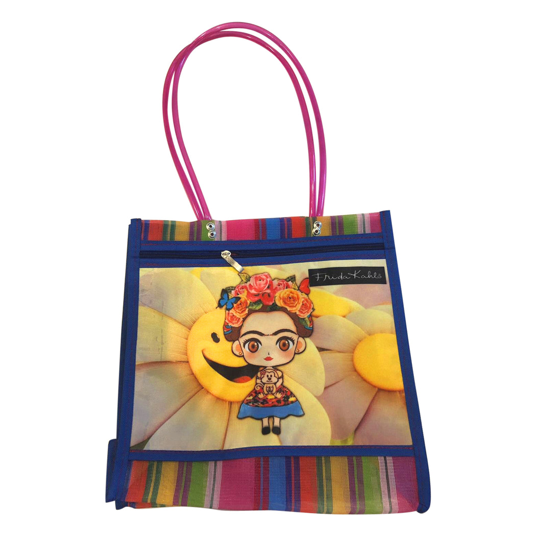 "Mexican Mercado Shoulder Mesh Bag ""Little Frida""-Vida's Brooklyn"