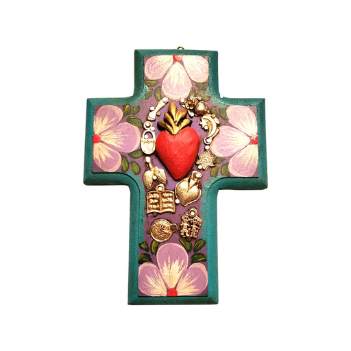 "Handmade Mexican ""Milagros"" Miracles Cross (Teal Green)-Vida's Brooklyn"