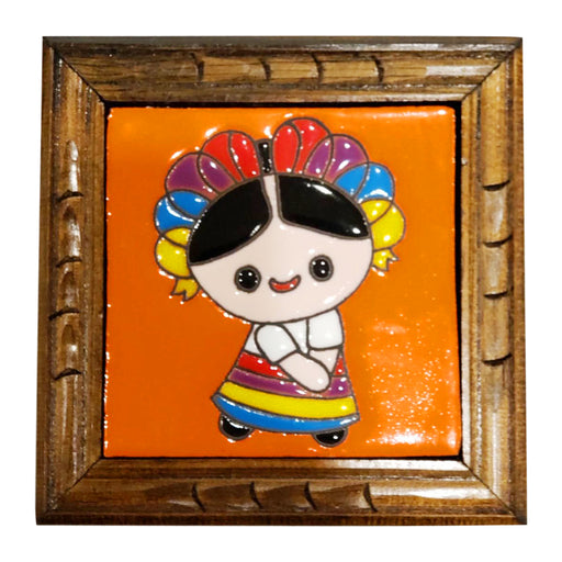 "Hand painted Mexican ""Muneca Maria"" Talavera Ceramic Tile-Vida's Brooklyn"