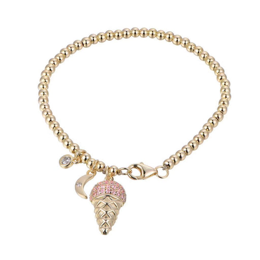 Gold Beaded Pink Ice Cream Cone Bracelet with Charms-Vida's Brooklyn