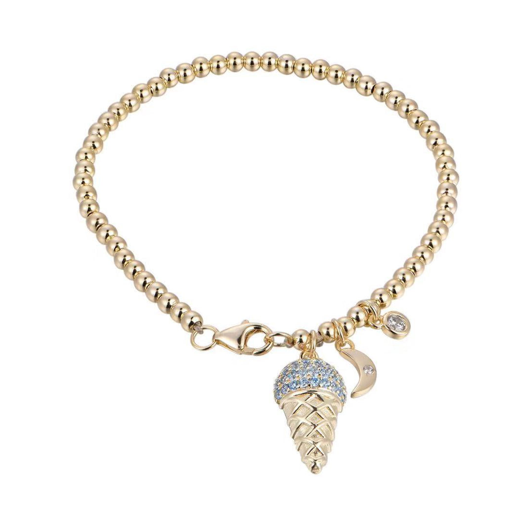 "Gold Beaded ""Aqua"" Ice Cream Cone Bracelet with Charms-Vida's Brooklyn"