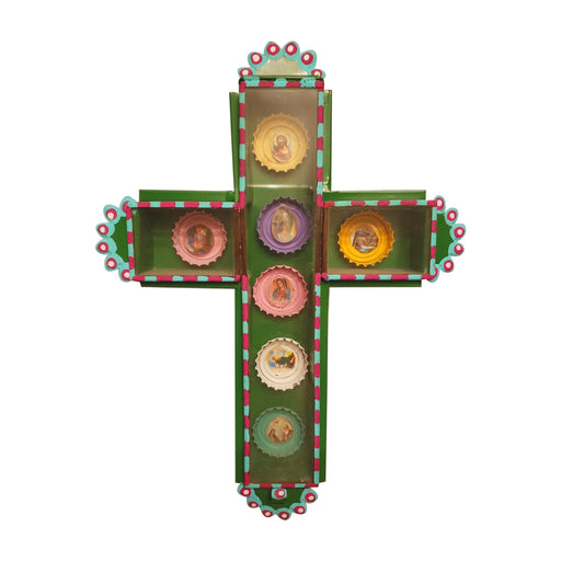 Handmade Mexican Ojalata Cross Shadowbox featuring Saints Bottlecaps-Vida's Brooklyn
