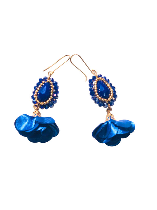 Blue Rose Handmade Earrings-Vida's Brooklyn