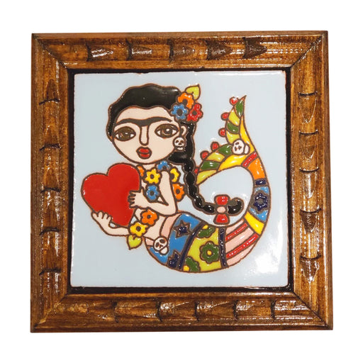 "Hand painted Mexican ""Frida Mermaid"" Talavera Ceramic Tile-Vida's Brooklyn"