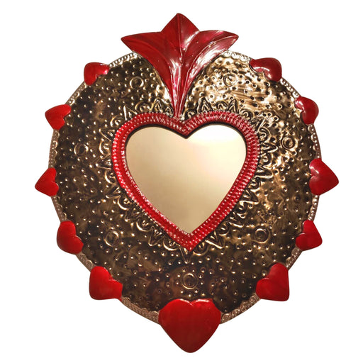 "Handmade Mexican Ojalata Mirrored ""Sacred Heart"" (Large)-Vida's Brooklyn"