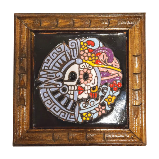 "Hand painted Mexican ""Calavera "" Talavera Ceramic Tile-Vida's Brooklyn"