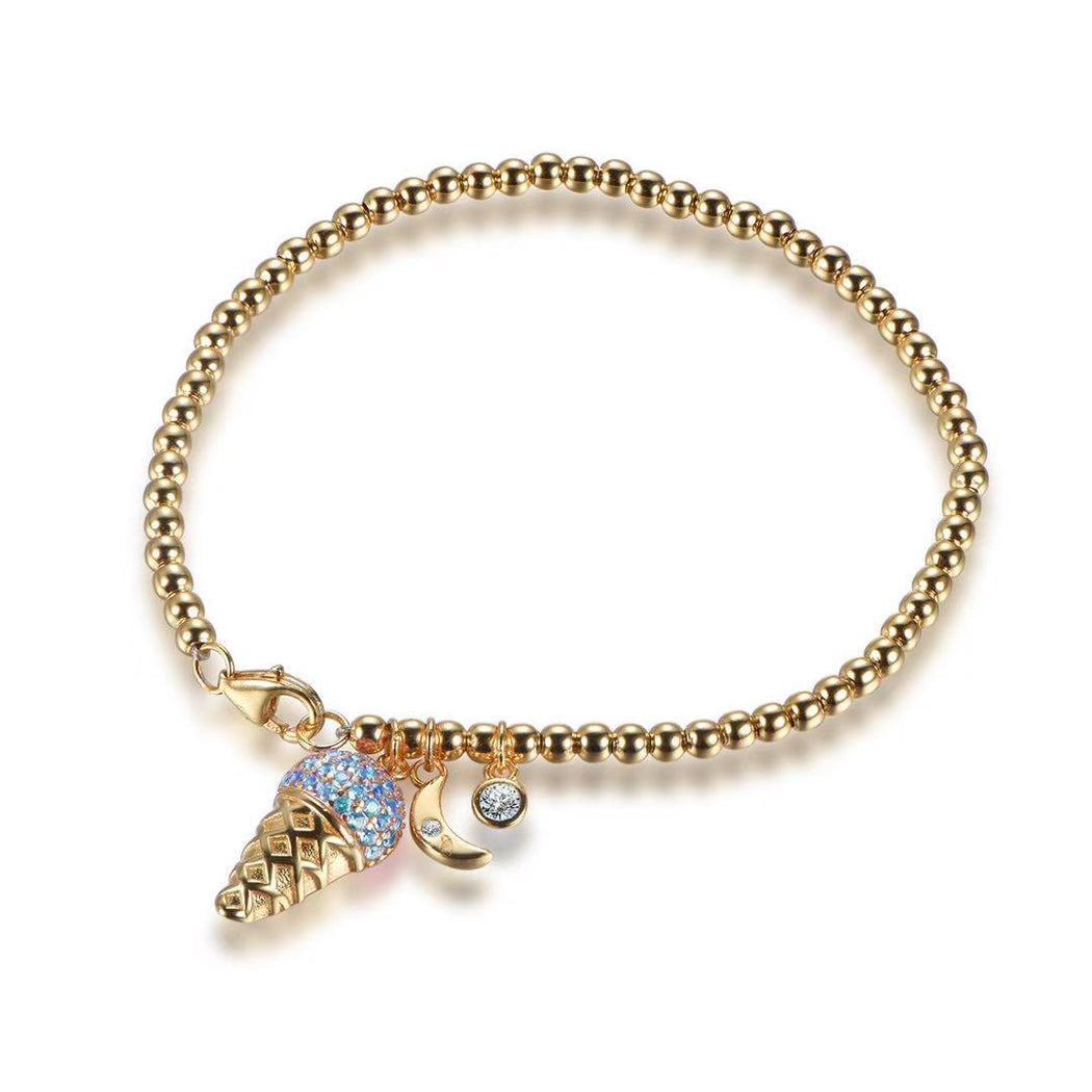925 Sterling Silver 14KT Gold Plated Blue Beaded Ice Cream Cone Bracelet-Bracelet-Vida's Brooklyn
