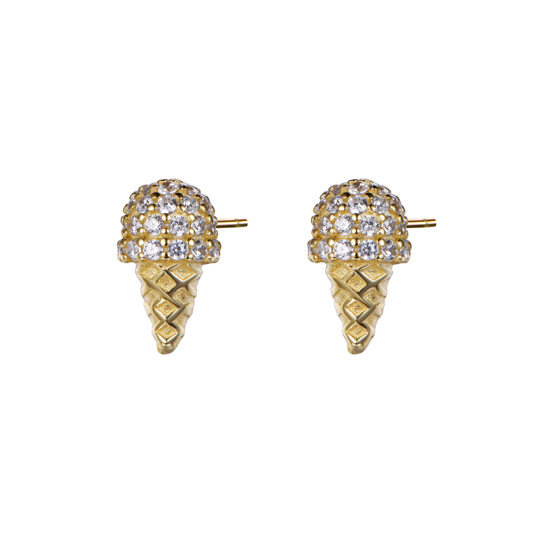 Sparkling Vanilla Ice Cream Cone Stud Earrings-Earring-Vida's Brooklyn