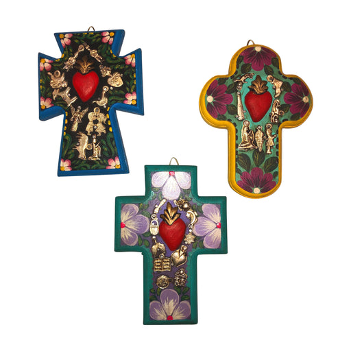 "Handmade Mexican ""Milagros"" Miracles Cross Set-Vida's Brooklyn"