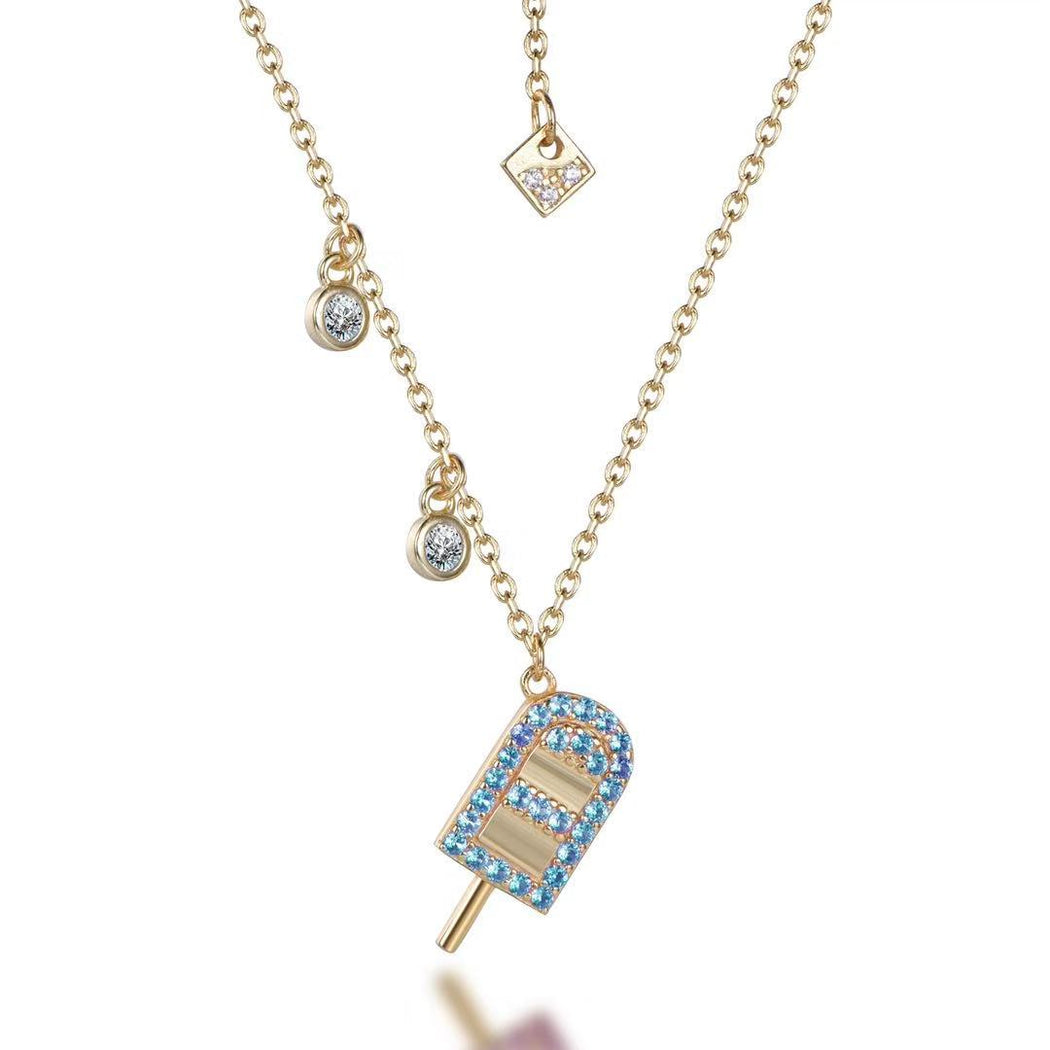 Sparkling Sterling Silver 14KT Gold Plated Popsicle Blue Pendant-Necklace-Vida's Brooklyn