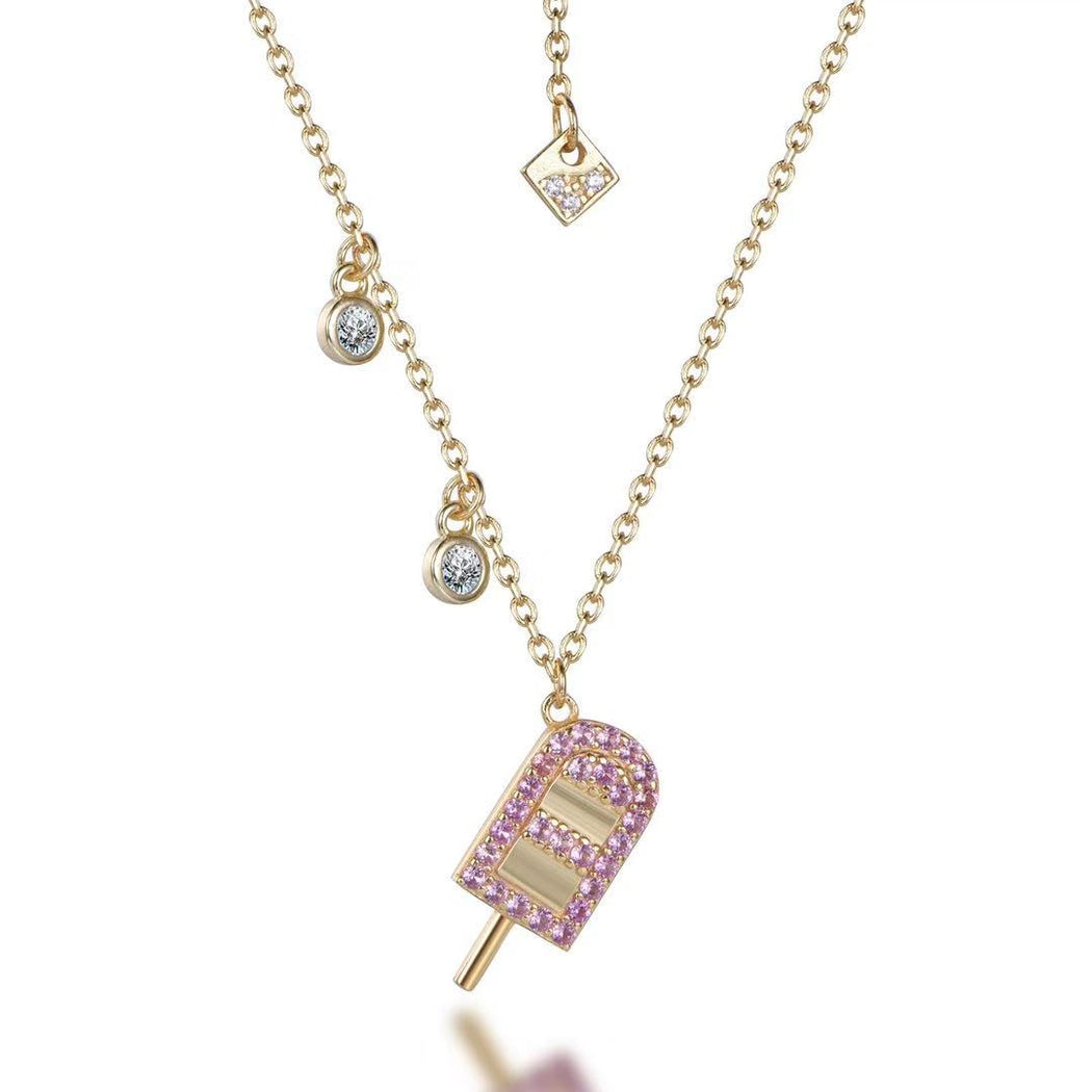 Sparkling Sterling Silver 14KT Gold Plated Popsicle Bright Pink Pendant-Necklace-Vida's Brooklyn