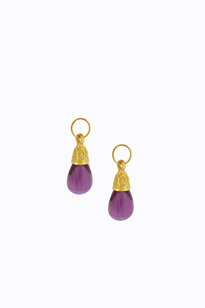 Petite Amethyst Scroll Drops