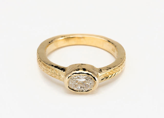 Oval Chiseled Diamond Ring