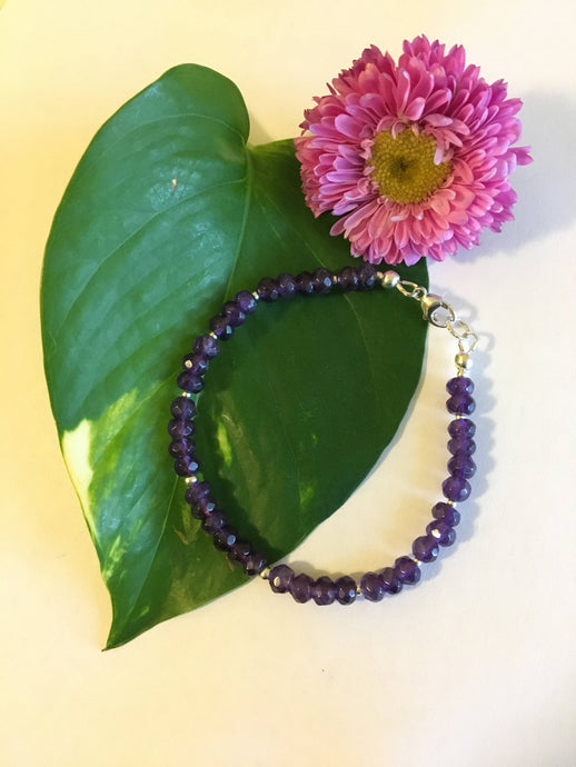 Amethyst Bracelet Handmade Purple Gemstone Dainty Office Bracelet February Birthstone Amethyst Jewelry Elegant Stacking Bracelet