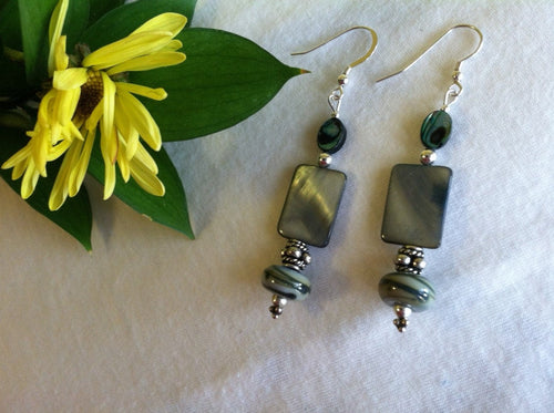 Abalone Handmade Earrings Sage and Forest Green Earrings With Artisan Handmade Glass Lamp Work Beads Sterling Silver Paua Shell Jewelry Gift