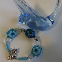 Load image into Gallery viewer, Blue and White Flowered Bracelet Pastel Blue Lamp Work Glass Chinese Crystal and Sterling Silver Floral Bracelet With Birds and Leaf Clasp