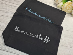 Personalised Welsh BLACK canvas Large Baby Accessory bag add any 2 words