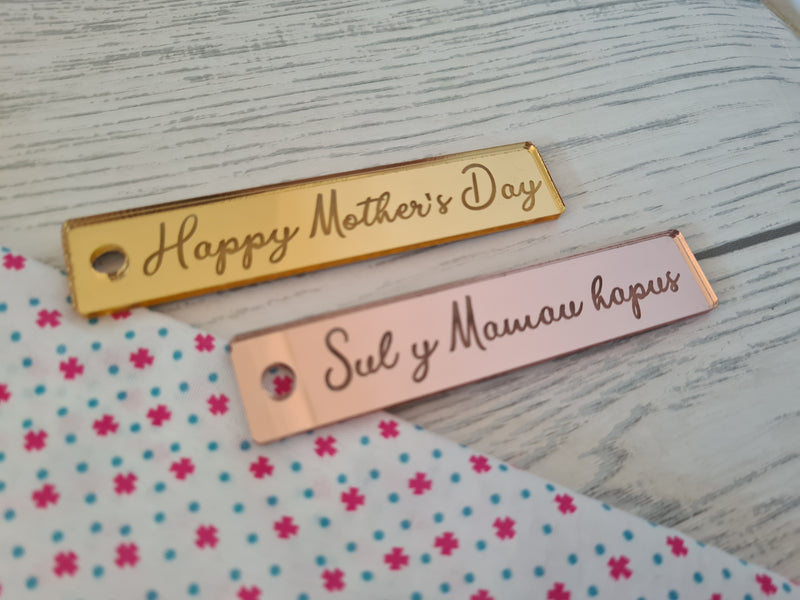 Personalised Welsh or english Mother's day Rose gold Mirrored acrylic tags Keyring