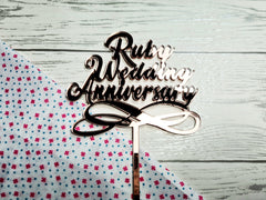 Personalised Mirrored acrylic anniversary cake topper Any word