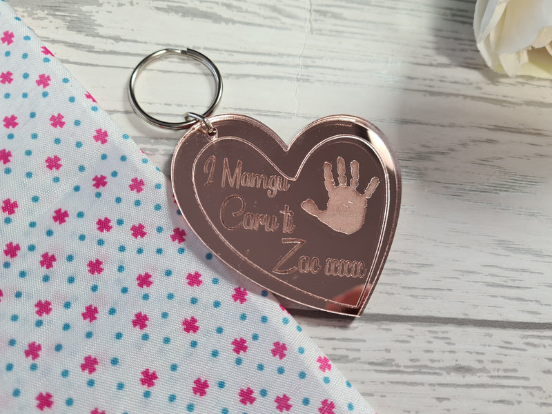 Personalised Welsh Rose gold Mirrored acrylic Mum Heart Keyring with child's handprint detail