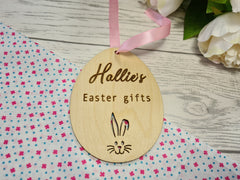 Personalised Wooden Egg shaped Easter gift tag
