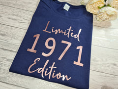 Personalised Women's Navy Birthday t-shirt Limited edition year