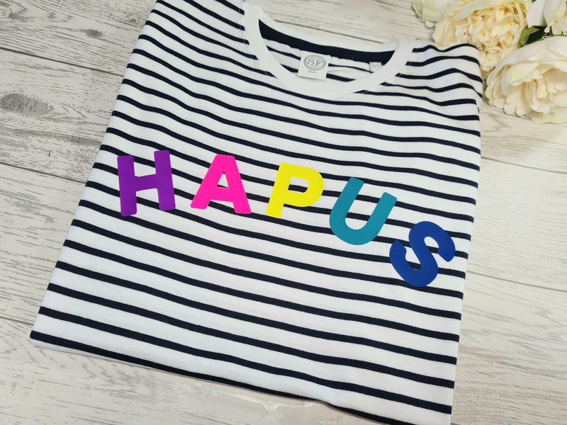 Personalised family welsh UNISEX adults, kids, baby rainbow Curved HAPUS or Cwtsh Navy stripy T-shirt