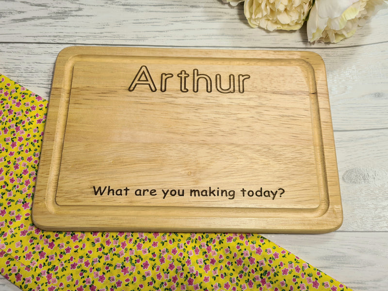 Personalised Engraved Wooden Rectangle kids baking Chopping board 30cm Any Name
