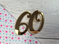 Personalised Mirrored acrylic birthday age cake charm Any Age rose gold, gold or silver