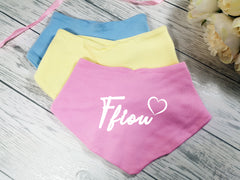 Personalised Baby Heart Name Bandana Bibs