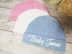 Personalised Baby beanie hat add a surname in choice of colours