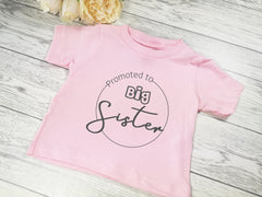 Custom Baby pink Baby t-shirt Promoted to big sister detail