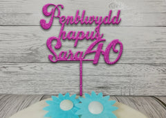 Personalised wooden Glitter birthday Welsh Penblwydd Hapus age cake topper Any name Any Age