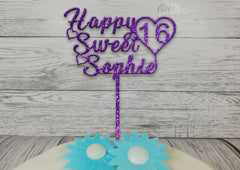 Personalised wooden Glitter birthday Happy Sweet 16 Age cake topper Any name