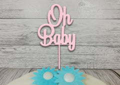 Personalised wooden Glitter Oh Baby cake topper  New Baby Baby shower Gender reveal Any colour