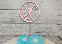 Personalised wooden birthday Gymnast cake topper Any name glitter Any age Ballet