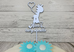 Personalised wooden Glitter Baby shower Giraffe cake topper Any name