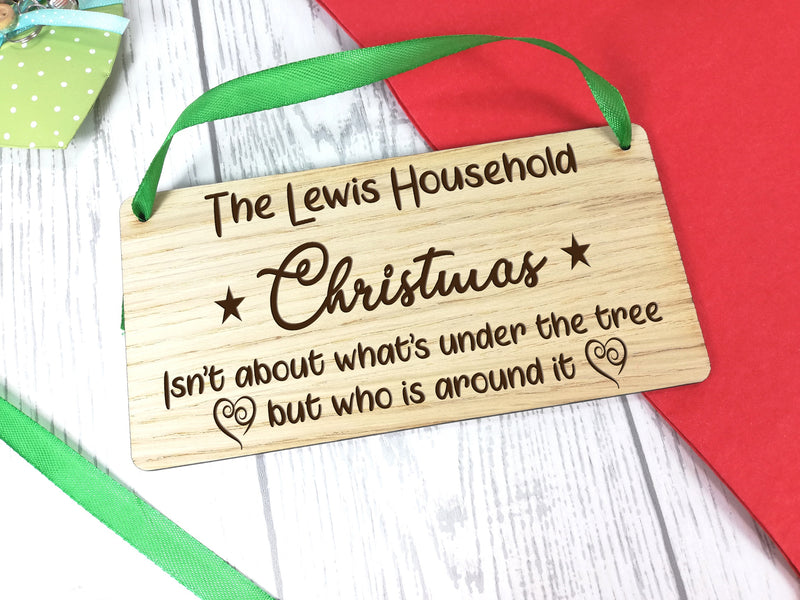 Personalised Engraved oak veneer 20cm hanging Christmas sign Any Surname Christmas is about