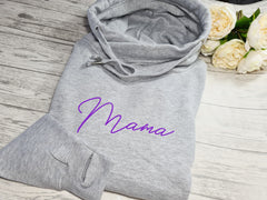 Personalised UNISEX WELSH heather GREY cross neck hoodie with Any name