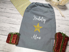 Personalised Grey welsh nadolig cyntaf Santa sack bag add a name